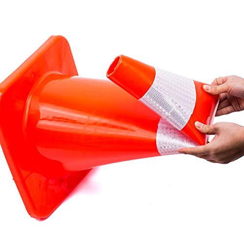 6 Cones 28'' Orange Traffic Safety Cone with Reflective Collar Road Packing PVC Plastic(Set of 6) by DOKIO (Image #2)