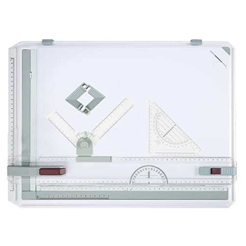 (Multi-Function A3 Plastic Graphic Architectural Drawing Board with Parallel Motion, Set Square, Clamps, Protractor, Anti Slip Support Legs, Sliding Ruler)