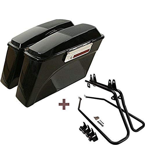 ASD Gloss Black Hard Saddlebags Bag Trunk Speaker Lids w/Latch Key & Saddle bag Conversion Support Mount Bracket Kit For 1997-2017 Harley Davidson Softail Fat Boy FLSTF FXST