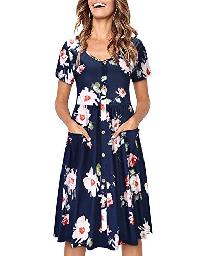 OUGES Women's Long Sleeve V Neck Button Down Midi Skater Dress with Pockets(Floral03,M)