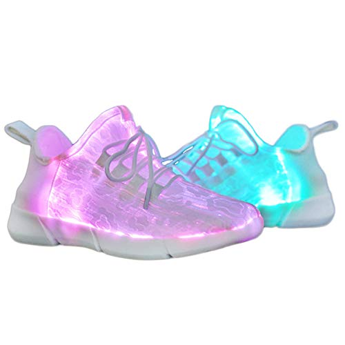 Yeeper Children's Breathable Fiber Optic LED Light up Shoes with USB Charging Lightweight Fashion Sneaker White 10 M US Toddler]()