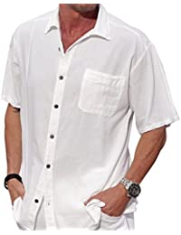 "<span class=""a-offscreen"">[Sponsored]</span>Cotton White Short-Sleeve Casual Lightweight Beautiful Embroidered Button Down Shirt"