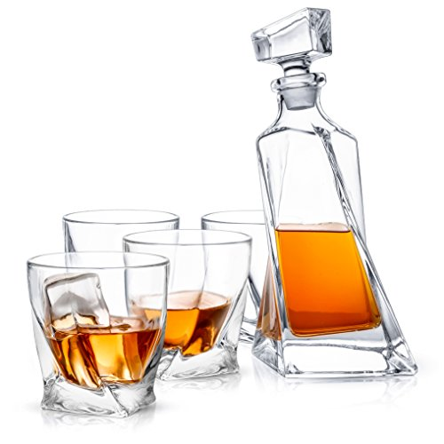 JoyJolt Atlas 5-Piece Crystal Whiskey Decanter Set,100% Lead-Free Crystal Bar Set, Crystal Decanter Set Comes With A Scotch Decanter-22 Ounces And A Set Of 4 Old Fashioned Whiskey Glasses-10.8 Ounces. -