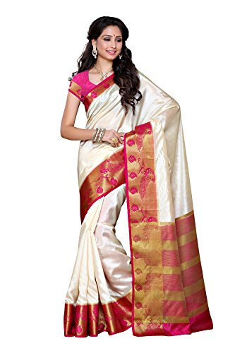 Mimosa Tussar Silk Saree Kanjivaram Style with Blouse Color:Off White