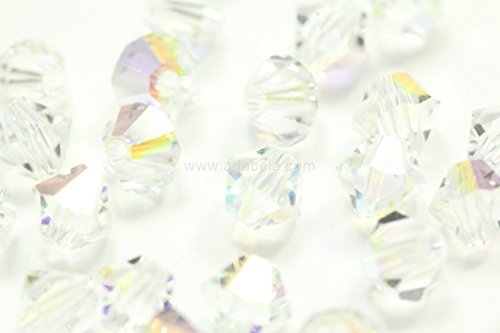 (100pcs 3mm Adabele Austrian Bicone Crystal Beads Clear AB Compatible with Swarovski Crystals Preciosa 5301/5328#ssb302)