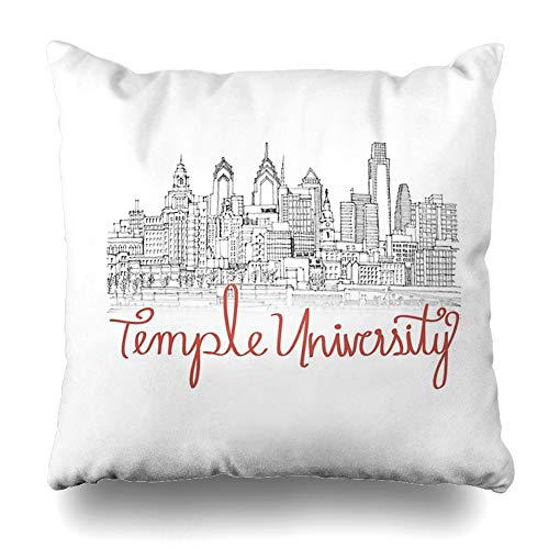 Ahawoso Throw Pillow Cover Square 16x16 Inches Temple University Skyline Decorative Pillow Case Home Decor Pillowcase