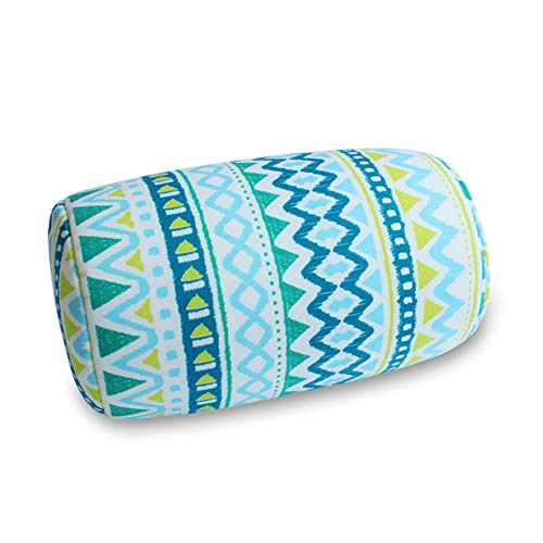 PinShang Soft Printing MicroBead Roll Pillow Car Cushion Feet Neck Head Leg Back Support Bolster Bed Pillow 17x30cm Blue Wave 17X30CM