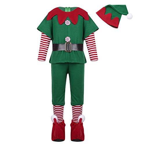 Agoky Kids Girls Christmas Elf Outfit Tops/Dress with Hat Belt Tights Set Xmas Cosplay Party Dress Up Costume Boys Christmas Outfit 4-5