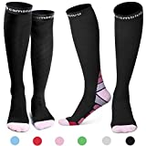 Cambivo 2 Pairs Compression Socks for Women & Men, fit for Running, Athletic