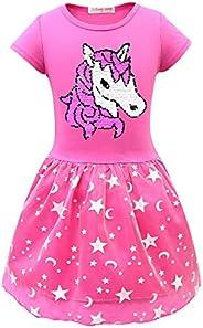Girls Unicorn Dress Outfit Flip Sequin Rainbow Princess Clothes Star Theme Party Birthday