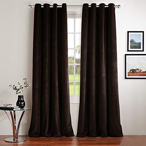 NICETOWN Velvet Textured Blackout Curtains/Drapes - Blackout Curtains with Grommet for Holiday Season Home Decoration (Set of 2, W52xL96 inches, Dark Brown) (Red Curtains Velour)