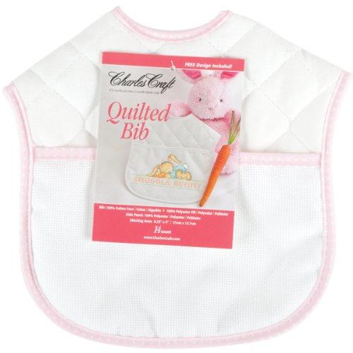 """Baberos acolchados del bebé 9'"""" - blanco X9 con el ajuste rosado de la guinga"""