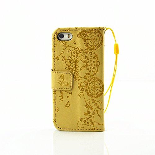 Apple iPhone 5C Lederhülle, Apple iPhone 5C Hülle, Cozy Hut ® Wallet Case Leder Schutzhülle mit Standfunktion und Karteneinschub Handytasche für Apple iPhone 5C,Schlitten geprägt Muster ,Funkelnde Str
