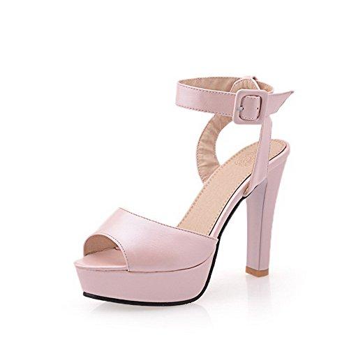 Amoonyfashion Womens Buckle High-heels Pu Solid Peep-toe Sandalen Roze