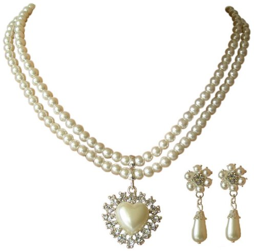 Trachtenschmuck Dirndl Collier Perlen Set Herz mit Kristallen - Set bestehend aus Kette und Ohrringen