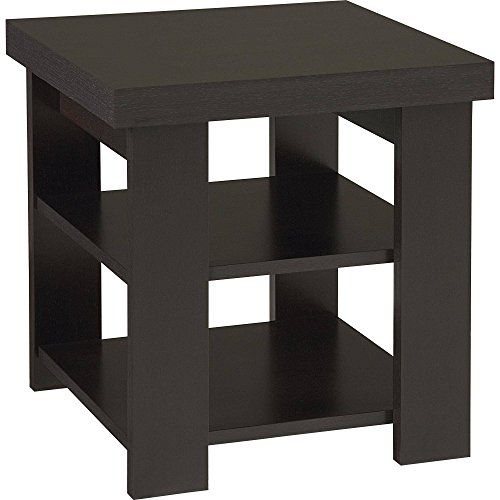 Robust Square Top Coffee Table with 2 Shelves for Storage, Divider on the Lower Shelf, Made of Laminated Particle Board and MDF, Modern Design, Assembly Required, Black + Expert Home Guide by LOVE US