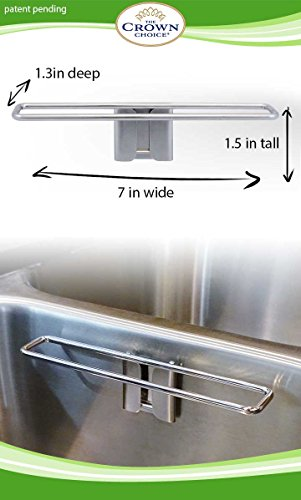 BEST Dish Cloth Holder Caddy for Kitchen Sink | Premium Stainless Steel No Suction Dishcloth Hanger Dryer for Washcloth Swedish Cloths | Not Magnetic. Uses Detachable Adhesive