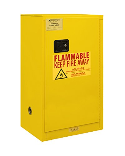 Durham 1016M-50 Welded 16 Gauge Steel Flammable Safety Manual Door Cabinet, 1 Shelf, 16 gal Capacity, 18'' Length x 23'' Width x 44'' Height, Yellow Powder Coat Finish by Durham