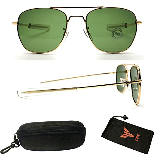 POLARIZED Lens Army Aviator Pilot Celebrity Spring Hinge Green Lens Aviation Sunglasses Eye Glasses for - Aviation Glasses