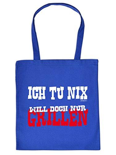 ..WILL DOCH NUR GRILLEN :Tote Bag Henkeltasche Beutel mit Aufdruck. Tragetasche, Must-have, Stofftasche,Grillen