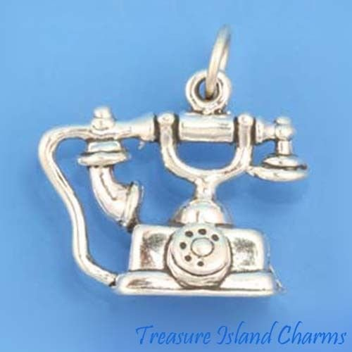 Rotary Dial Telephone Phone 3D 925 Solid Sterling Silver Charm Crafting Key Chain Bracelet Necklace Jewelry Accessories Pendants