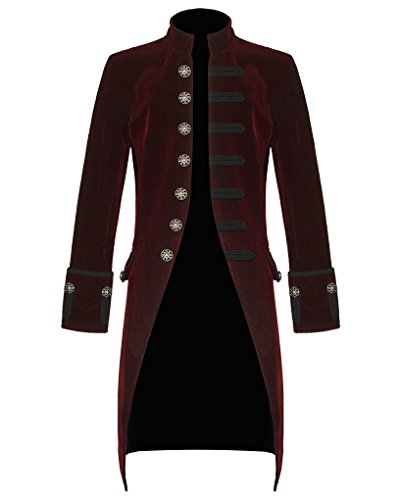 Handmade Coat - Darkrock Mens Velvet Vintage Goth Steampunk Victorian Frock Handmade Coat (XXXX-Large, Burgundy)