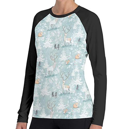 (Women T-Shirt, Crew-Neck Vintage Woodland Christmas Pattern1 Long-Sleeved Tops for Women)