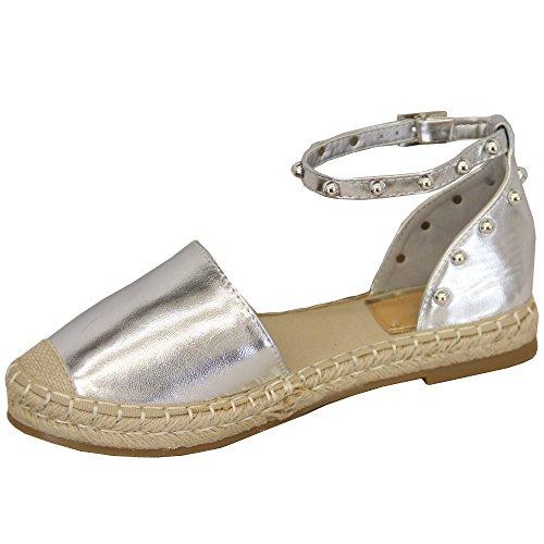 MCM Damen Knöchel Riemchen Sandalen Flach Damen Espadrilles Stecker Modische Schuhe Sommer Silber - 7718