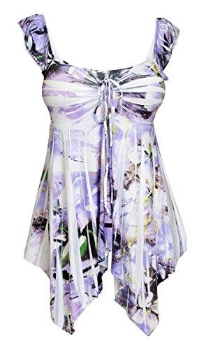 Floral Sublimation Print Top - eVogues Plus Size Deep V-Neck Asymmetric Slimming Sublimation Print Top Floral Lavender 2-3X