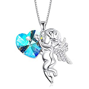 KesaPlan Swarovski Crystal Light of Heaven Crystal Angel Pendant Necklace Angle Wing Heart Necklace for Girls