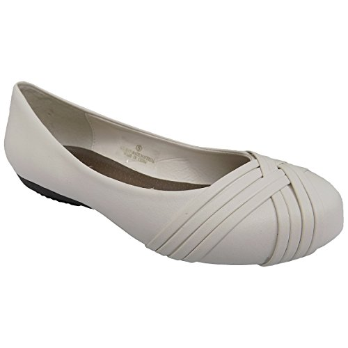 Scarpe Basse Da Donna F042 Bianco Slip On Balletto Bianco