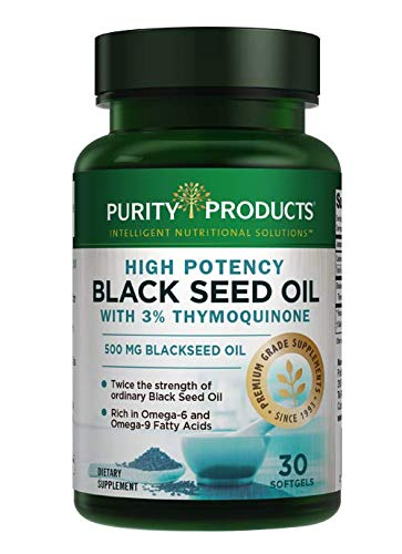 High Potency Black Seed Oil - Double Strength + Cold Pressed - 3% Thymoquinone - 500 mg Black Cumin Seed Oil - Omega 6 + 9 Essential Fatty Acids - Easy to Swallow, Just One Per Day - 30 Mini Softgels