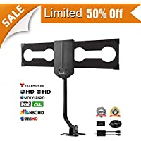 [50% off promotion,Enter code 3FPVZ5TI]LeadTry Outdoor TV Antenna,150+ Mile Reception with Signal Booster, Attic/Roof TV Receiver, Omni-Directional for High-Gain FM/VHF/ UHF, 33 Ft Highl Cable