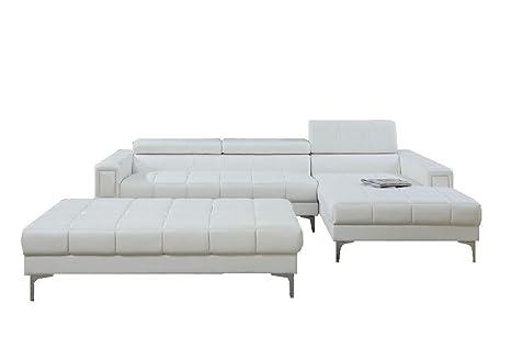 Amazon.com: Moderno y Contemporáneo Seccional sofá de piel ...