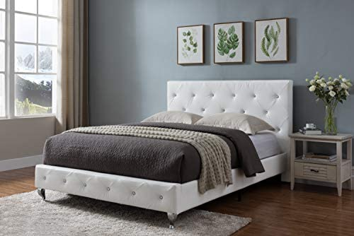 Kings Brand Furniture – White Tufted Design Faux Leather Queen Size Upholstered Platform Bed
