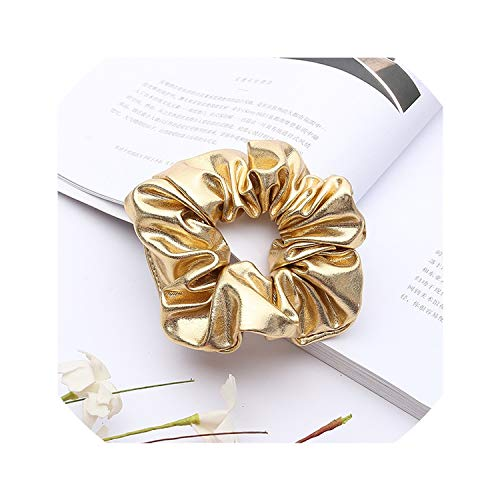 Women Pu Faux Leather Elastic Hair Ties Girls Hairband Rope Ponytail Holder Scrunchie Gold Black Headbands Accessories,Ivory,