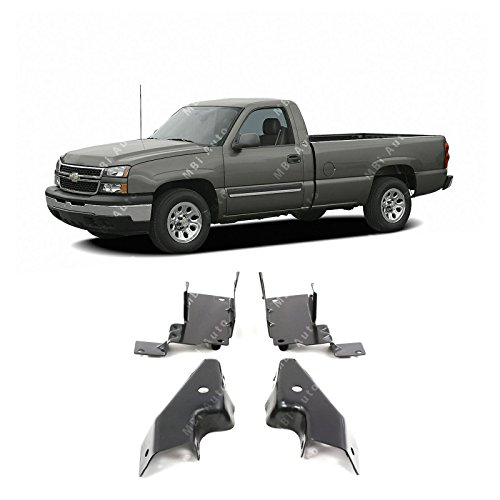 (MBI AUTO - Primered, Front Bumper Steel Mounting Bracket Set for 2003-2006 Chevy Silverado 1500 03-06, GM1061101)