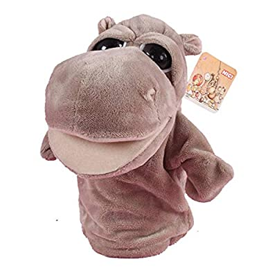Animal Hand Puppets Plush Pretend Toys Movable Open Mouth Early Educational (Hippo): Toys & Games