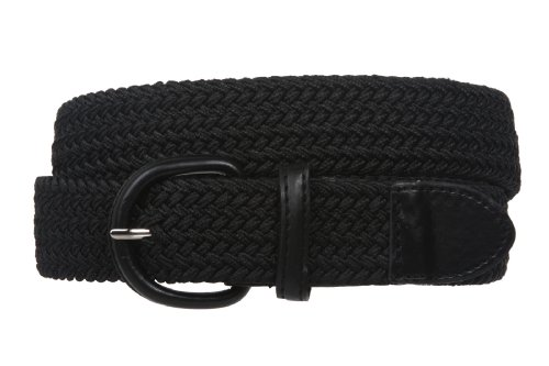[1 3/8'' Comfort Stretch Braided Horseshoe Non Leather Belt Size: XL - 44 END-TO-END Color: Black] (Patent Leather Covered Buckle Belt)