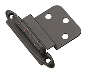 Amerock BPR3417ORB Non Self-Closing, Face Mount Hinge with 3/8in(10mm) Inset -  Oil-Rubbed Bronze - 2 Pack
