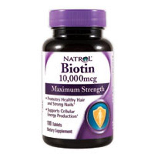 - Natrol Biotin, Maximum Strength, 10,000 mcg Tablets 100 ea (Pack of 4)
