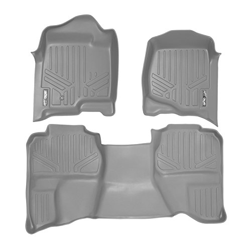 - SMARTLINER Floor Mats 2 Row Liner Set Grey for 2007-2013 Silverado/Sierra 1500/2500/3500 HD Extended Cab