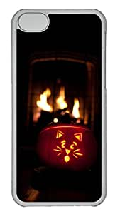 iPhone 5c Case - Unique Cool Elegant Halloween Pumpkins And Flame Hard Clear Mobile Phone Protecting Shell