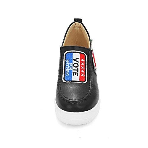 AllhqFashion Damen Gemischte Farbe Weiches Material Mittler Absatz Rund Zehe Pumps Schuhe Schwarz