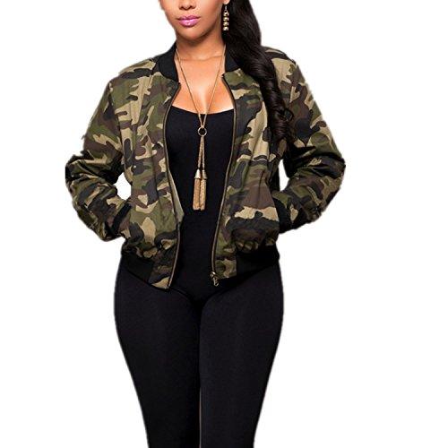 - Taiduosheng Women Military outwear Casual Camouflage Lightweight Thin Short Length zipper Jacket Coat L