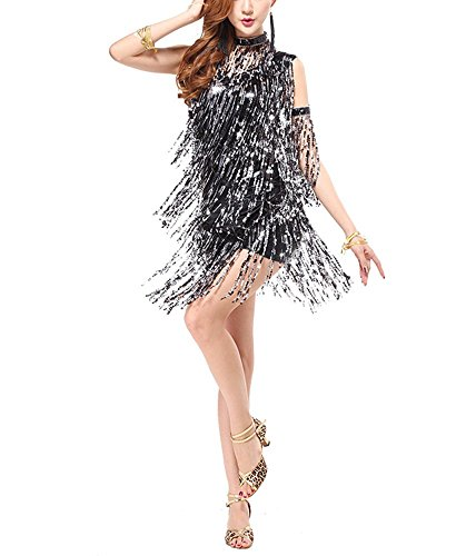 Fringe Trim Great Gatsby Halloween Flapper Samba Dance Costumes Dresses , Black, -
