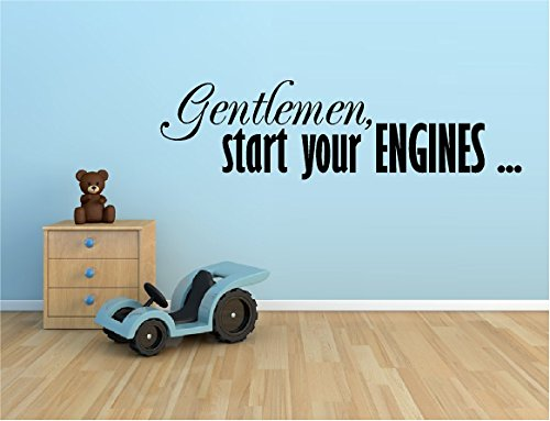 gentleman start your engines racing race cars vinyl wall decal sticker boys kids room home decor. Black Bedroom Furniture Sets. Home Design Ideas
