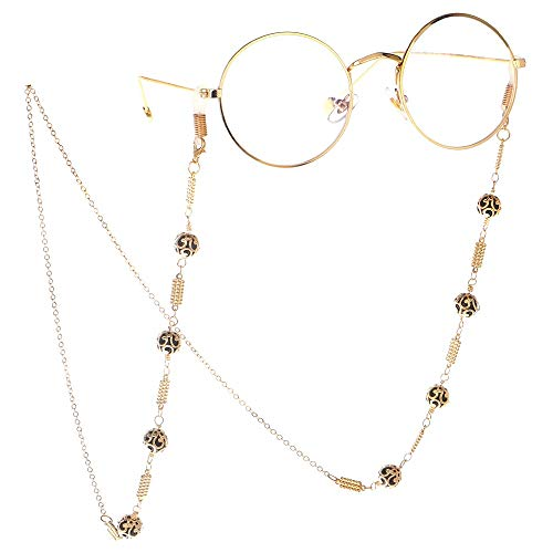 VINCHIC Colorful Beaded Eyeglass Chain Sunglass Holder Strap Eyeglass Necklace Chain Cord for Women (gold)