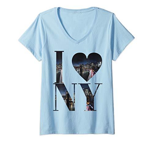 Womens I love Newyork Skyline T-Shirt Design  V-Neck T-Shirt