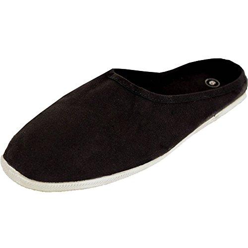 On Flats Women's Canvas Slm Slip Black Mules 0R4qnwF